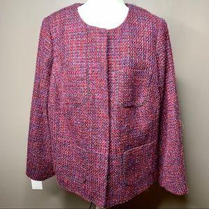 Pink purple tweed blazer Talbots